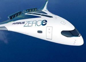 Cada una de las seis cápsulas a lo largo de las alas del concepto ZEROe incluye un tanque de hidrógeno líquido.