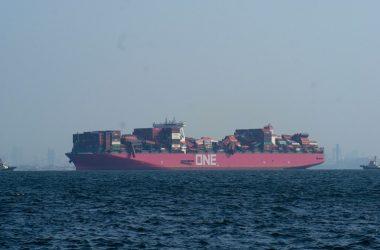 El buque tiene una capacidad de 14.000 cajas equivalentes de 20 pies. / FOTO Twitter @mrnkA4srnrA